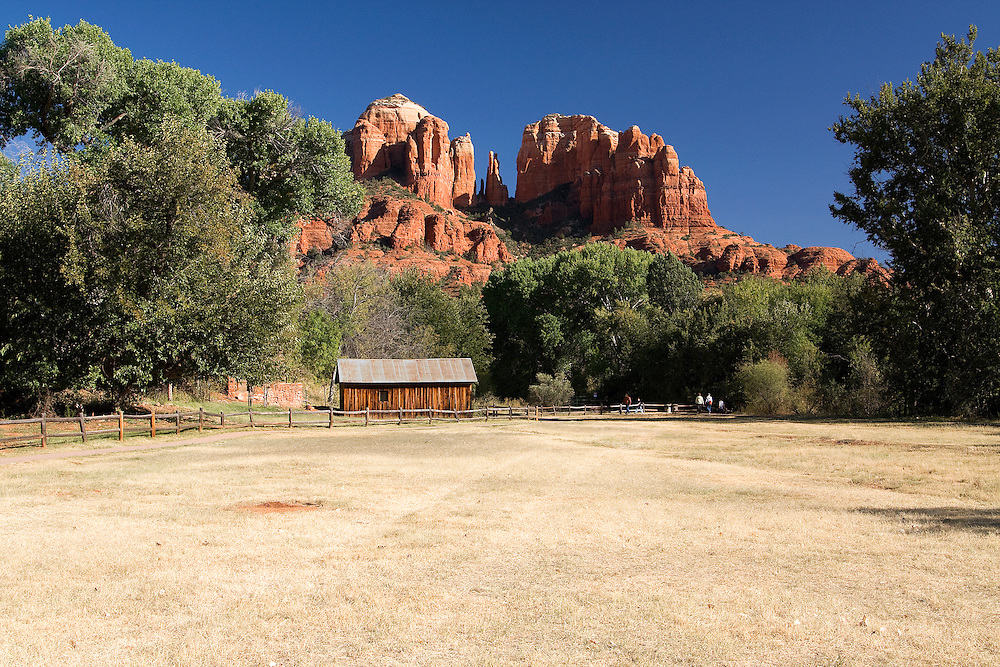 The Crescent Moon Ranch and the majestic Cathedral Rock in Sedona, Arizona. This is one of the most photographed sites in Arizona.