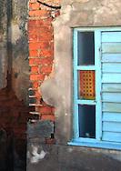 Wall and window in Santa Fe, Havana, Cuba.