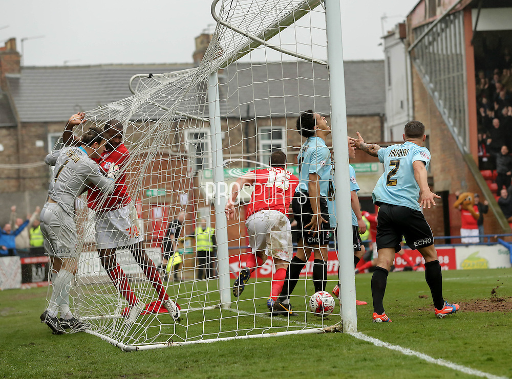 Dave Winfield celebrates his goal during the Sky Bet League 2 match between York City and Cheltenham Town at Bootham Crescent, York, England on 3 April 2015. Photo by Simon Davies.