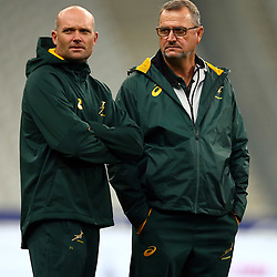 PARIS, FRANCE - NOVEMBER 09: Jacques Nienaber (Defence Coach) of South Africa with Swys de Bruin (consultant) and Emirates Lions head coach during the South African national rugby team captains run at Stade de France on November 09, 2018 in Paris, France. (Photo by Steve Haag/Gallo Images)