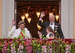 Norwegian King Harald and Queen Sonja celebrate their 80th anniversary with a 2 day festival in Oslo. The first day's festivities took place in front of the Palace of Oslo, with the royal guests enjoying it from the castle balcony. 09 May 2017 Pictured: Queen Sonja and King Harald of Norway. Photo credit: hbgbild / MEGA TheMegaAgency.com +1 888 505 6342