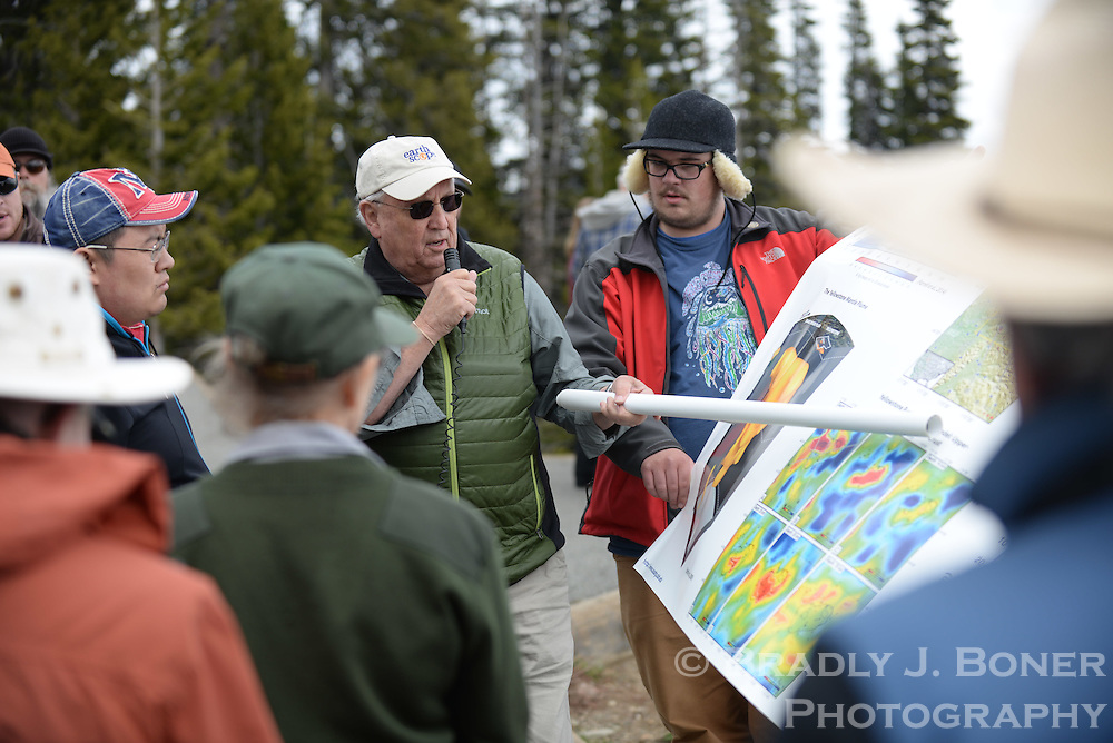 Geophysicist Dr. Bob Smith leads a geology tour of Yellowstone and Grand Teton National Park