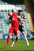 York City's Russell Penn and Plymouth Argyle's Carl McHugh during the Sky Bet League 2 match between Plymouth Argyle and York City at Home Park, Plymouth, England on 28 March 2016. Photo by Graham Hunt.