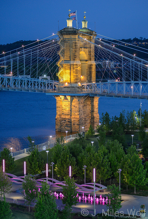 Roebling Suspension Bridge in Cincinnati Ohio
