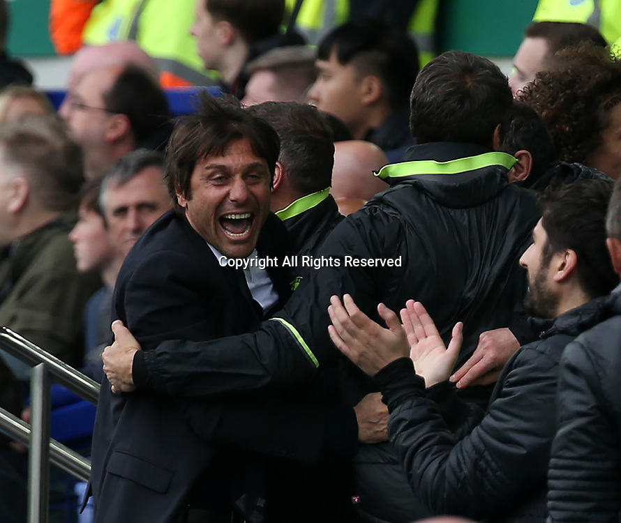 April 30th 2017, Goodison Park, Liverpool, England; EPL Premier league football, Everton versus Chelsea; Antonio Conte , Chelsea manager erupts with excitement as his team take a 0-3 lead