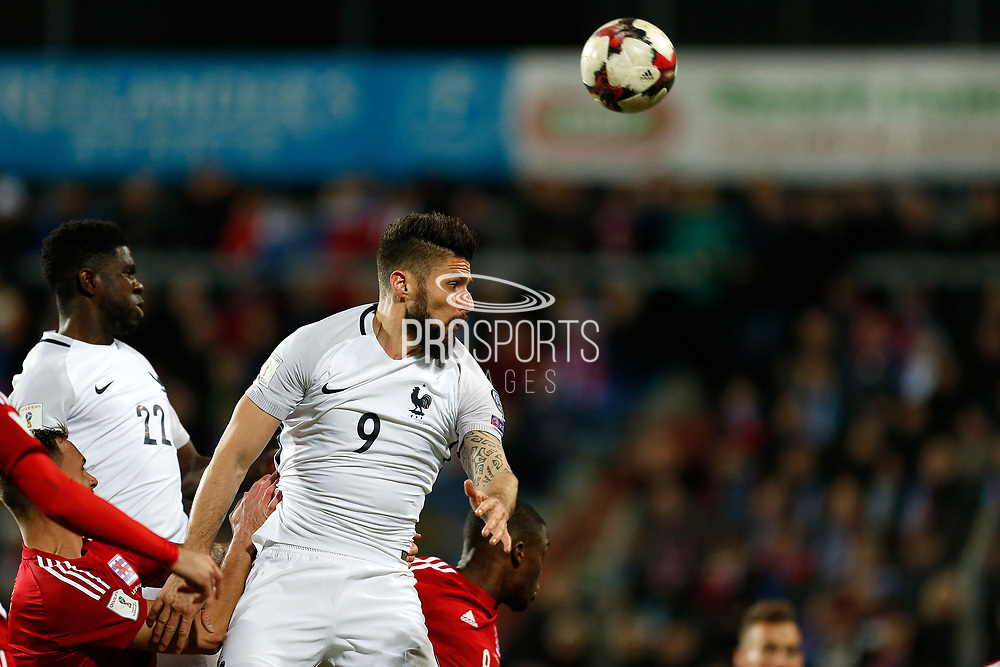 France's forward Olivier Giroud heads the ball during the FIFA World Cup 2018 qualifying football match, Group A, between Luxembourg and France on March 25, 2017 at Josy Barthel stadium in Luxembourg - Photo Benjamin Cremel / ProSportsImages / DPPI