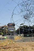 View through smashed glass of Guildford Hotel, destroyed by arson. Guildford, Perth, Western Australia