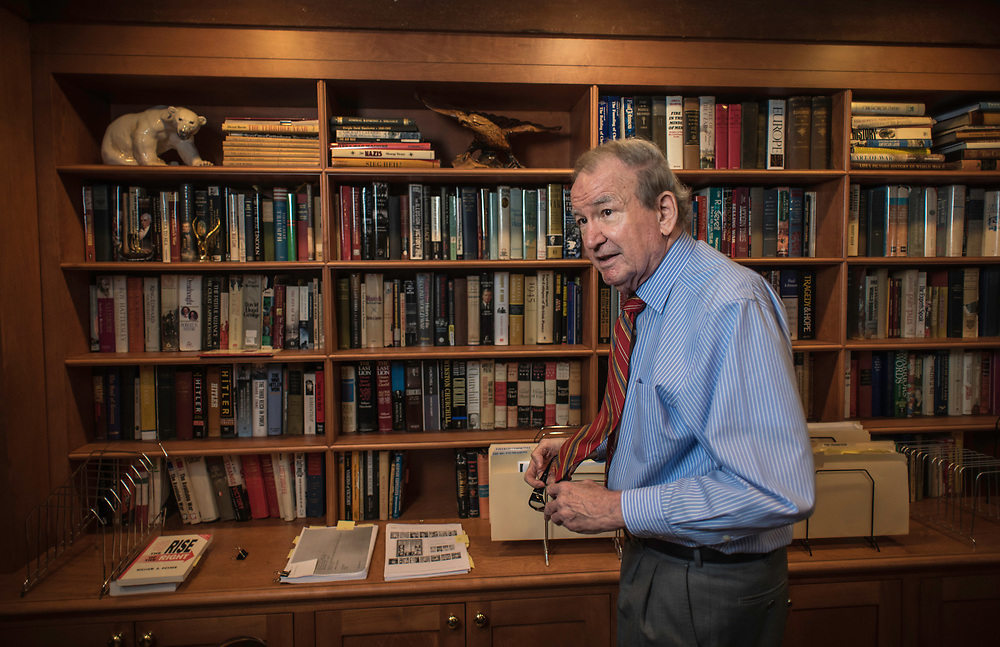 MCLEAN, VA -- 3/21/17 -- Buchanan keeps a large selection of books on various topics at hand. Respected conservative commentator Pat Buchanan reflects on his career at his home in McLean. .…by André Chung #_AC24089