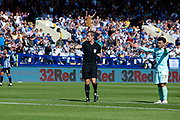 Referee John Brooks gives Sheffield Wednesday a penalty after a foul on Fernando Forestieri of Sheffield Wednesday during the EFL Sky Bet Championship match between Sheffield Wednesday and Queens Park Rangers at Hillsborough, Sheffield, England on 31 August 2019.