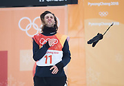 PYEONGCHANG-GUN, SOUTH KOREA - FEBRUARY 14: Patrick Burgener of Switzerland throws his glove during the Mens Snowboard Halfpipe competition at Phoenix Snow Park on February 14, 2018 in Pyeongchang-gun, South Korea. Photo by Nils Petter Nilsson/Ombrello               ***BETALBILD***