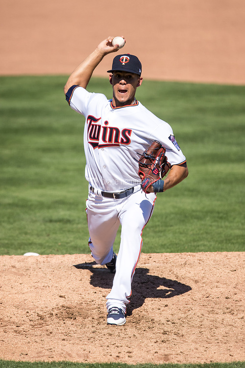FORT MYERS, FL- FEBRUARY 26: Jose Berrios #17 of the Minnesota Twins pitches against the Washington Nationals on February 26, 2017 at Hammond Stadium in Fort Myers, Florida. (Photo by Brace Hemmelgarn) *** Local Caption *** Jose Berrios
