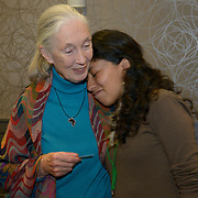 Dr. Jane Goodall hugs fellow delegate, Mirna Fernandez (Bolivia), before the opening ceremony of the  International Women's Earth and Climate Summit. Leaders from 35+ countries gathered for the drafting of a Women's Climate Action Agenda in Suffern, New York September 20-23rd, 2013 as part of the International Women's Earth and Climate Summit.  For a full list of Summit delegates and an agenda visit www.iweci.org. Photo by Lori Waselchuk/Magazines OUT