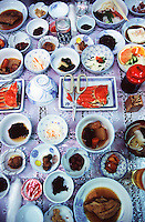 17 different varieties of seafood in a traditional Japanese meal in far eastern Hokkaido.