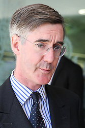© Licensed to London News Pictures. 23/07/2019. London, UK. Jacob Rees-Mogg speaking with the media outside QEII Centre after Boris Johnson elected as leader of the  Conservative Party and the new British Prime Minister. Dinendra Haria/LNP