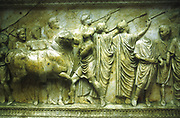 Sacrificial procession of a bull. Bull preceded by trumpeters.  Vicomagistri: Roman relief 30-40 AD. Vatican.