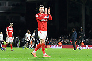 Jonathan Howson (16) of Middlesbrough applauds the travelling fans at full time during the EFL Sky Bet Championship match between Fulham and Middlesbrough at Craven Cottage, London, England on 17 January 2020.