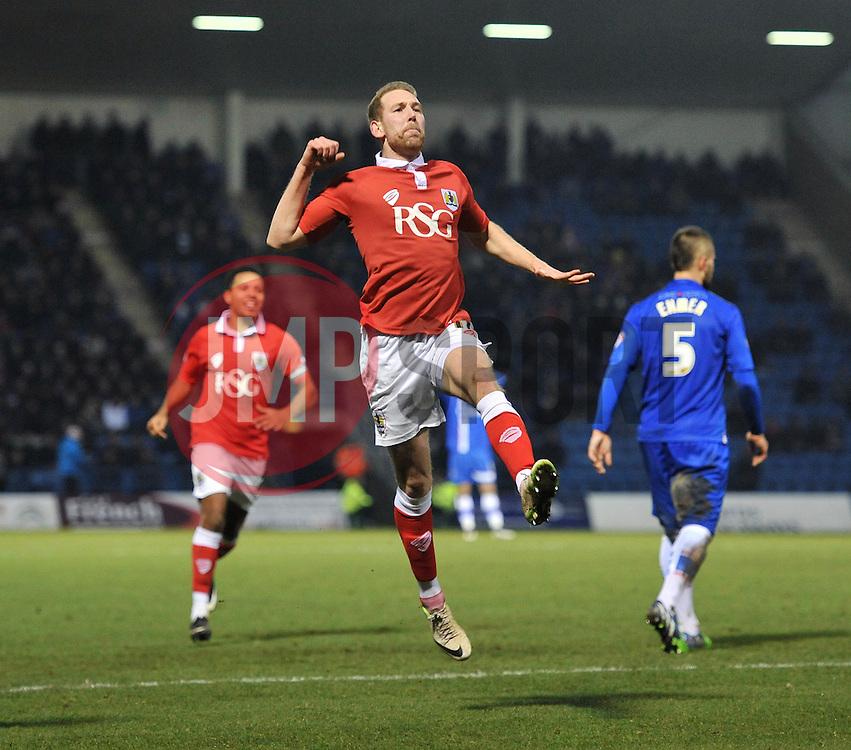 Bristol City's Scott Wagstaff celebrates his goal. - Photo mandatory by-line: Dougie Allward/JMP - Mobile: 07966 386802 - 28/12/2014 - SPORT - football - Gillingham - Priestfield Stadium - Bristol City v Gillingham - Sky Bet League One