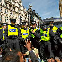 London May 11th Angry scenes and confrontation broke out today between Tamil protesters and the Police trying to clear the roads around  Parliament Square London...Standard Licence feee's apply  to all image usage.Marco Secchi - Xianpix tel +44 (0) 845 050 6211 .e-mail ms@msecchi.com .http://www.marcosecchi.com