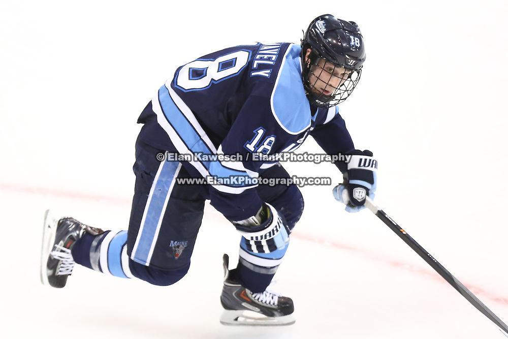 Jon Swavely #18 of the Maine Black Bears on the ice during the game at Matthews Arena on February 22, 2014 in Boston, Massachusetts. (Photo by Elan Kawesch)