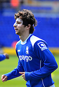 Diego Fabbrini warms up with protective mask during the Sky Bet Championship match between Birmingham City and Wolverhampton Wanderers at St Andrews, Birmingham, England on 11 April 2015. Photo by Alan Franklin.