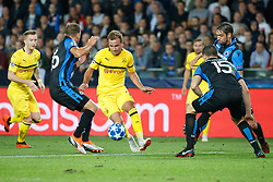 September 18, 2018 - Brugge, BELGIUM - Club's Matej Mitrovic and Dortmund's Marcel Schmelzer fight for the ball during a game between Belgian soccer team Club Brugge KV and German club Borussia Dortmund, in Brugge, Tuesday 18 September 2018, day one of the UEFA Champions League, in group A. BELGA PHOTO KURT DESPLENTER (Credit Image: © Kurt Desplenter/Belga via ZUMA Press)
