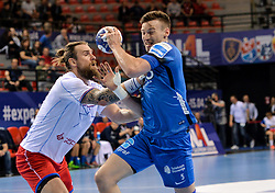 Jaka Malus of Celje PL during handball match between Meshkov Brest and RK Celje Pivovarna Lasko in bronze medal match of SEHA- Gazprom League Final 4, on April 15, 2018 in Skopje, Macedonia. Photo by  Sportida