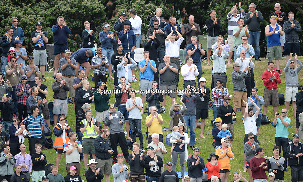 A standing ovation by the fans for Brendon McCullum's 300 on Day 5 of the 2nd cricket test match at The  Hawkins Basin Reserve. Wellington. ANZ Test Series, New Zealand Black Caps v India. Tuesday 18 February 2014. Photo: Andrew Cornaga/www.Photosport.co.nz