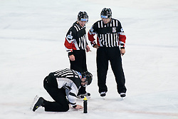 Referees during ice-hockey match between HDD Tilia Olimpija and EC Red Bull Salzburg in 26th Round of EBEL league, on November 27, 2011 at Hala Tivoli, Ljubljana, Slovenia. Red Bull Salzburg defeated HDD Tilia Olimpija 6:5 in overtime. (Photo By Matic Klansek Velej / Sportida)