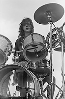 Ingrid Weiss, drums. The Raincoats, Alexandra Palace, London 15-06-1980