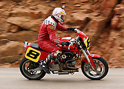 COLORADO SPRINGS - JUNE 27:  Rob Smith #8 drives a 1996 Buell S1 Lightning motorcycle in the 1205cc Division as he races 12.42 miles up to the 14,110 foot summit of Pikes Peak Mountain in Pike National Forest during the 88th running of the Pikes Peak International Hill Climb, the second oldest motor sports event in the United States, on June 27, 2010 in Colorado Springs, Colorado. ©Paul Anthony Spinelli