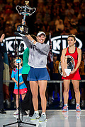 MELBOURNE, VIC - JANUARY 27: Caroline Wozniacki of Denmark holds aloft her trophy after winning in the Final of  the 2018 Australian Open on January 26, 2018, at Melbourne Park Tennis Centre in Melbourne, Australia. (Photo by Jason Heidrich/Icon Sportswire)MELBOURNE, VIC - JANUARY 27: