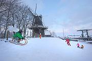 Children playing with sleds in the snow at the dike in Garnwerd, Groningen province // Kinderen spelen met sleetjes in de sneeuw op de dijk in Garnwerd.