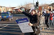 Unison members on the TUC Day of Action 30th November, Edmunds Road NHS Crisis Centre Sheffield .