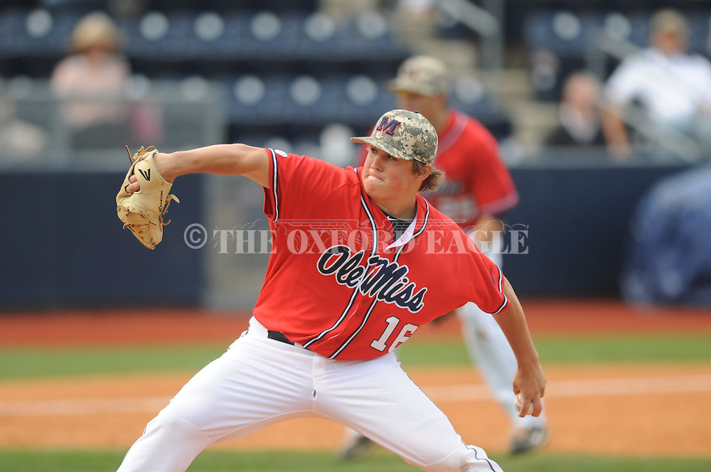 Ole Miss' Matt Denny (16) pitches vs. Vanderbilt at Oxford-University Stadium Stadium in Oxford, Miss. on Sunday, April 7, 2013. Vanderbilt won 7-6 in 11 innings.