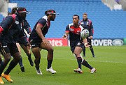 Passing drills during the USA Captain's Run in preparation for the Rugby World Cup at the American Express Community Stadium, Brighton and Hove, England on 18 September 2015.
