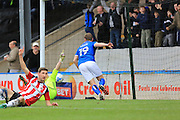 GOAL Steven Davies (19) scores from close range 1-2 during the EFL Sky Bet League 1 match between Rochdale and Sheffield Utd at Spotland, Rochdale, England on 4 March 2017. Photo by Daniel Youngs.