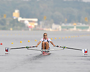 Poznan, POLAND,    CZE W1X,  Mirka KNAPKOVA, sculls away from the start pontoon in her semi final of the  women's single sculls, on the sixth day of the  2009 FISA World Rowing Championships. held on the Malta Rowing lake, Thursday  27/08/2009  [Mandatory Credit. Peter Spurrier/Intersport Images]