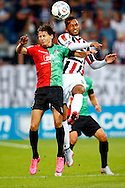 28-08-2015 VOETBAL:WILLEM II- NEC NIJMEGEN:TILBURG<br /> Joey Sleegers van NEC Nijmegen in diuel met Funso Ojo van Willem II <br /> <br /> Foto: Geert van Erven