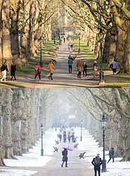 © Licensed to London News Pictures. Comparison picture showing warm weather conditions in Green Park, central London today, 26/02/2019 (TOP) and on the same day last year, 26/02/2018 (BOTTOM), covered in snow. Yesterday's high of over 20 degrees celsius was a record temperature for February. Photo credit: Rob Pinney/LNP
