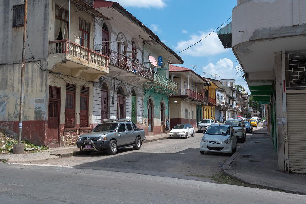 Colone, Panama--April 19, 2018--A run down block corner in Colone, Panama. Editorial use only.