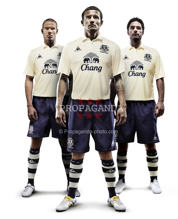 Everton FC's vanilla third kit for the 2010/2011 season modeled by Jack Rodwell, Tim Cahill and Mikel Arteta.