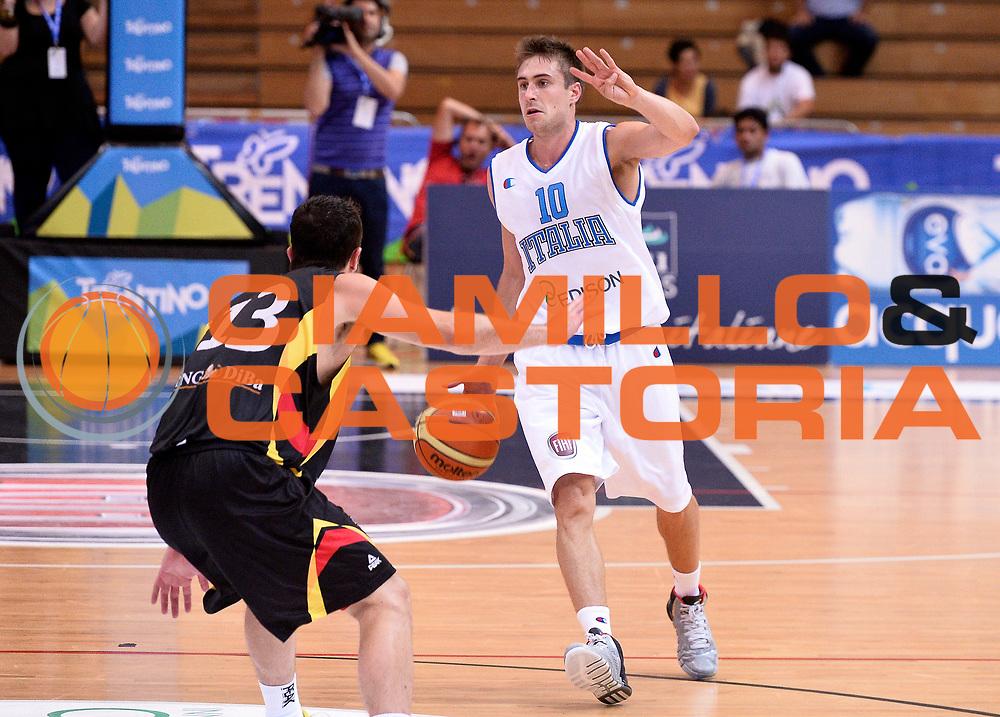 DESCRIZIONE : Trento Nazionale Italia Uomini Trentino Basket Cup Italia Germania Italy Germany<br /> GIOCATORE : Andrea De Nicolao<br /> CATEGORIA : palleggio<br /> SQUADRA : Italia Italy<br /> EVENTO : Trentino Basket Cup<br /> GARA : Italia Germania Italy Germany<br /> DATA : 10/07/2014<br /> SPORT : Pallacanestro<br /> AUTORE : Agenzia Ciamillo-Castoria/R.Morgano<br /> Galleria : FIP Nazionali 2014<br /> Fotonotizia : Trento Nazionale Italia Uomini Trentino Basket Cup Italia Germania Italy Germany