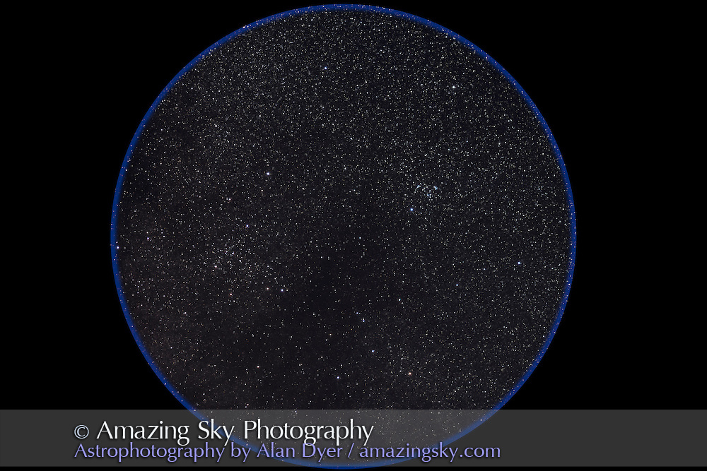 The pair of large open clusters, NGC 6633 at right in Ophiuchus and IC 4756 at left in Serpens, in a wide-field image simulating the field of binoculars. Taken July 24, 2012, from home with the Canon 5D MkII at ISO 800 and Canon L-series 200mm lens at f/3.5 for a stack of 5 x 3 minute exposures. Also known as the S-O Double Cluster.