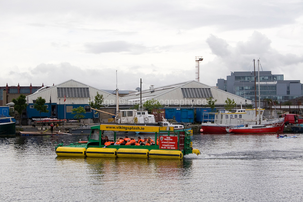 Viking Splash water and road tour at Charlotte Quay in Dublin's docklands Ireland