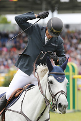 23.07.2017, Aachener Soers, Aachen, GER, CHIO Aachen, im Bild Gewinner, Sieger, 1. Platz: Gregory Wathelet (BEL) auf seinem Pferd Coree, Jubel // during the CHIO Aachen World Equestrian Festival at the Aachener Soers in Aachen, Germany on 2017/07/23. EXPA Pictures © 2017, PhotoCredit: EXPA/ Eibner-Pressefoto/ Roskaritz<br /> <br /> *****ATTENTION - OUT of GER*****