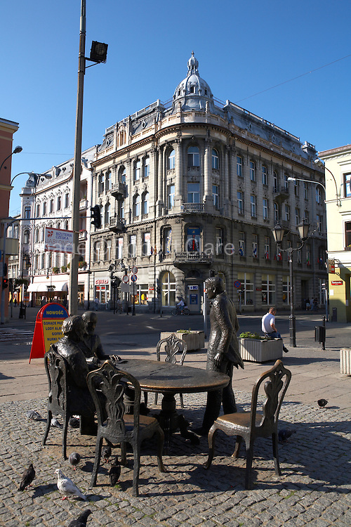 Eastern Europe Poland Western Mazovia Lodz Piotrkowska Street Bronze Sculpture