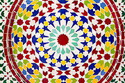 FEZ, MOROCCO - 24th OCTOBER 2013 - Close-up detail of intricate mosaic zellige tiling work inside the old Fez Medina, Middle Atlas Mountains, Morocco.