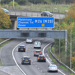 © Licensed to London News Pictures. 12/10/2018<br /> CHIPSTEAD, UK.<br /> The start of the M26 at Chipstead near Junction 5 of the M25.<br /> The M26 motorway in Kent is to be closed at night so it can be turned into a giant lorry park incase Britain leaves the EU with no deal. The M26 connects the M25 to the M20 towards Dover.<br /> Photo credit: Grant Falvey/LNP