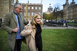 © Licensed to London News Pictures. 21/02/2019. London, UK. A journalist helps JUSTINE GREENING MP to put on her jacket, after speaking to media in Westminster, London. Conservative and Labour MPs have resigned form their respective parties . and joined newly formed The Independent Group, a breakaway campaign group formed by seven defecting Labour MPs. Photo credit: Ben Cawthra/LNP
