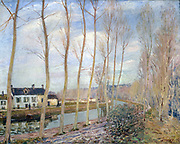 The Loing Canal at Moret' 1892:  Alfred Sisley (1839-1899) French painter.  Oil on canvas.
